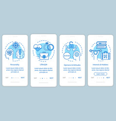 Psychographics targeting blue onboarding mobile vector