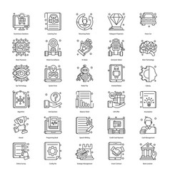 Robotic technology in line style pack vector