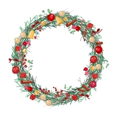 Round Christmas wreath with fir branches vector image
