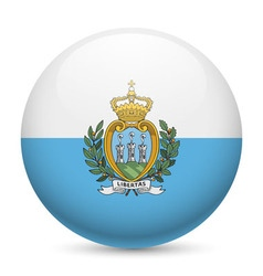Round glossy icon of san marino vector image