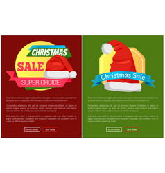 santa claus hat promo label christmas sale concept vector image