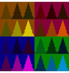 Seamless pattern colorful fir forest vector image