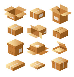 set cardboard boxes carton package shipping vector image