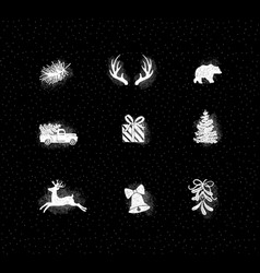 set christmas decorative icons chalk vector image