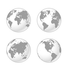set grey and white shaded globes earth vector image