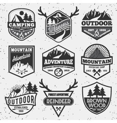 set monochrome outdoor camping adventure vector image