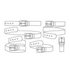 set of leather belts vector image