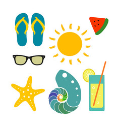 set with beach elements vector image