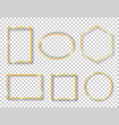 set with golden shiny vintage frames isolated vector image