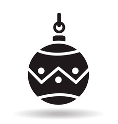 Simple black flat christmas bauble ball icon with vector