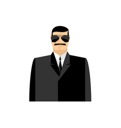 Spy portrait secret agent in black suit bodyguard vector