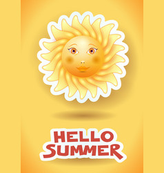 Summer background with big sun and text vector
