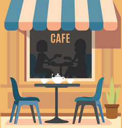 Summer cafe and table with chairs vector