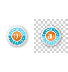summer sale sticker 10 and 20 percent discount vector image