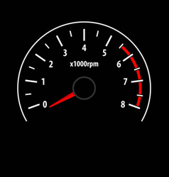Tachometer gauge isolated on black background vector