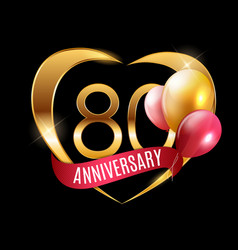 template gold logo 80 years anniversary with vector image