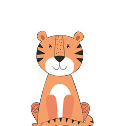 Tiger cute doodle hand drawn cartoon character vector