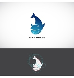Tiny whale abstract logo template flat vector