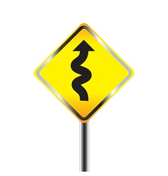 Traffic sign with winding road vector