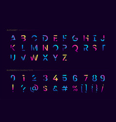 Trendy futuristic letter set vector