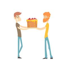 two men holding festive cake cartoon vector image