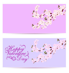 Valentine s day sakura - two business cards vector