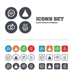 Wedding dress icon Bride and groom rings symbol vector image