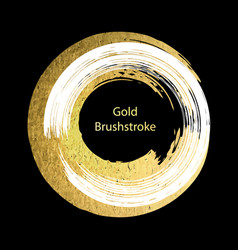 White and gold brushstroke design template golden vector