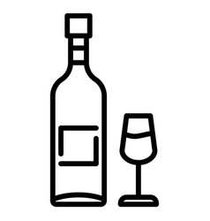wine bottle glass icon outline style vector image