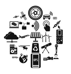wireless technology icons set simple style vector image