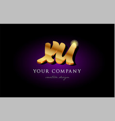 Xu x u 3d gold golden alphabet letter metal logo vector