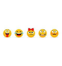yellow faces emoticons cartoon funny vector image