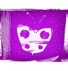 dirty violet background with the butterfly grunge vector image vector image