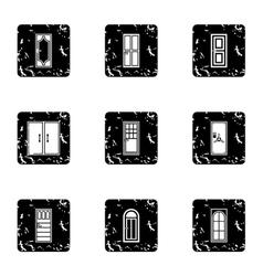 Door icons set grunge style vector