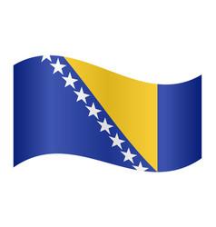 flag of bosnia and herzegovina wavy white backdrop vector image