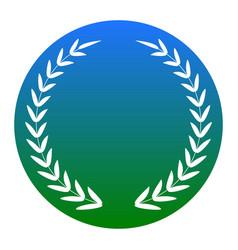 laurel wreath sign white icon in bluish vector image