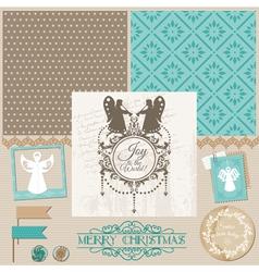 Vintage Christmas Angel Set vector image vector image