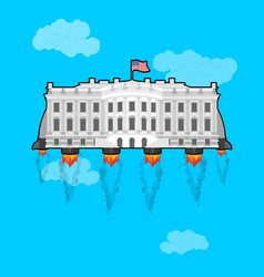 white house flying with rocket turbo usa vector image vector image