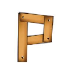 wooden type p vector image vector image