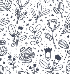 Black and white decorative floral pattern vector