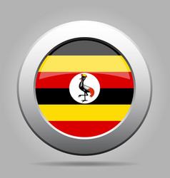 flag of uganda shiny metal gray round button vector image vector image