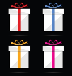 gift box on black background vector image vector image