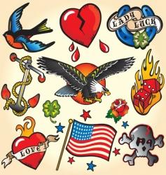 set of retro tattoos vector image vector image