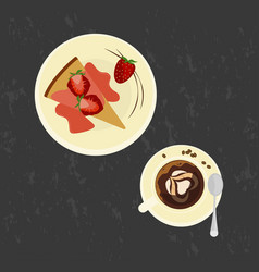 strawberries cake with love coffee vector image vector image