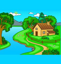 Summer landscape pop art vector