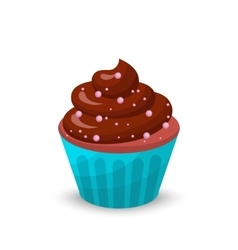 Sweet food chocolate creamy cupcake set isolated vector image vector image