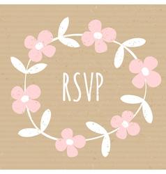 white wreath pink flowers cardboard paper design vector image vector image