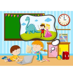 Boy and girl working in the classroom vector image vector image