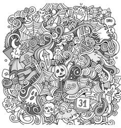 Cartoon cute doodles hand drawn Halloween vector image