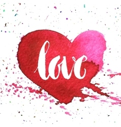 Hand-drawn watercolour red heart vector image